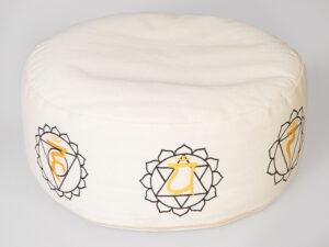 7 Chakra Meditationskissen mit Buchweizen gefüllt Ø 36 cm 15 cm hoch