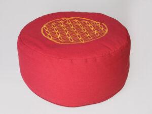Blume des Lebens Meditationskissen rot mit Buchweizen gefüllt Ø 30 cm x 15 cm hoch