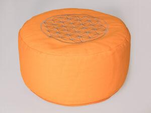 Blume des Lebens Meditationskissen orange mit Buchweizen gefüllt Ø 30 cm x 15 cm hoch