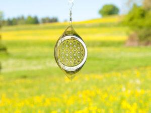 Blume des Lebens Mobile Ø 15 cm aus Edelstahl mit Kristallen