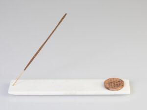 Marmorhalter lang mit Blume des Lebens aus Holz