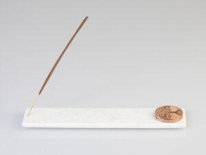 Marmorhalter lang mit Lebensbaum aus Holz