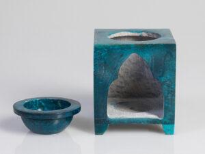 Aromalampe – Blume des Lebens Speckstein blau, 7,5 x 7,5 x 10 cm