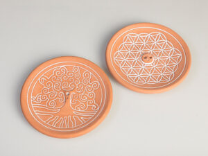 Blume des Lebens Natur – Räucherhalter aus Keramik ca. Ø 15 cm