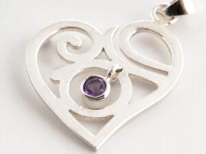 Spirituelle Liebe Anhänger mit Amethyst Steinaus 925 Sterling Silber