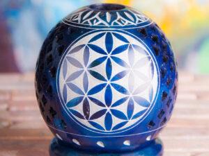 Kugelteelicht, dunkelblau Lebensblume