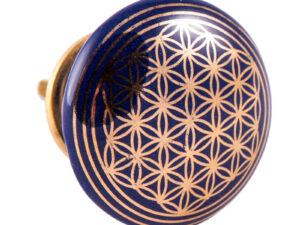 Türknauf dunkelblau mit Blume des Lebens aus Keramik