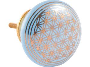 Türknauf hellblau mit Blume des Lebens aus Keramik