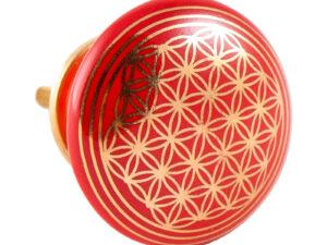 Türknauf rot mit Blume des Lebens aus Keramik