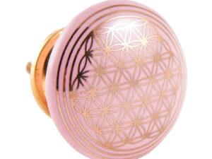 Türknauf pink mit Blume des Lebens aus Keramik