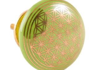 Türknauf grün mit Blume des Lebens aus Keramik