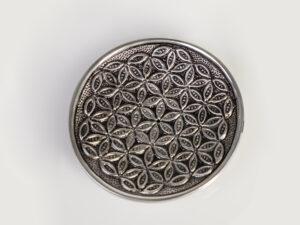 Stäbchenhalter Blume des Lebens Weissmetall ø 13 cm