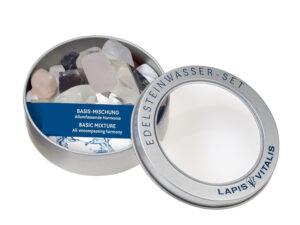 Wassersteine in Geschenkdose – Grundmischung Amethyst, Bergkristall, Rosenquarz