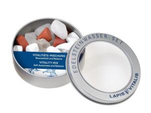 Wassersteine in Geschenkdose – Vitalitätsmischung Bergkristall, Magnesit, Roter Jaspis