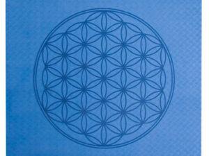 Yogamatte TPE ecofriendly – dunkelblau/hellblau 6mm zweischichtig mit Blume des Lebens