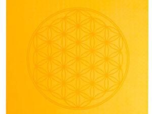 Yogamatte TPE ecofriendly – orange/grau 6mm zweischichtig mit Blume des Lebens