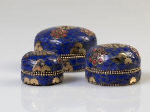 Mamallapuram, blau3er-Set Steindöschen, Weissmetall
