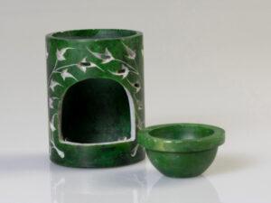 Aromalampe Zylinder Yggdrasil,grün, Speckstein
