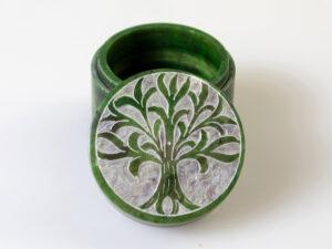 Yggdrasil Döschen, grün Speckstein