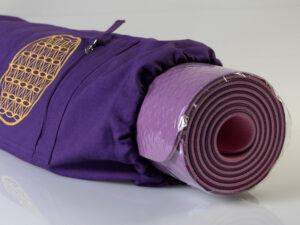 Yoga Tasche mit Blume des Lebens lila Länge 75 cm