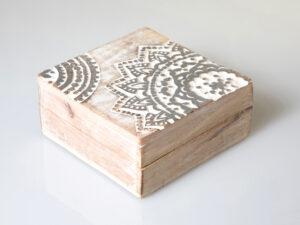 Mandala Silberbox, klein Mangoholz