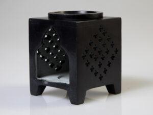 Aromalampe – Blume des Lebens Speckstein schwarz, 7,5 x 7,5 x 10 cm